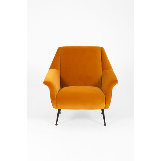 Midcentury mustard velvet armchair image