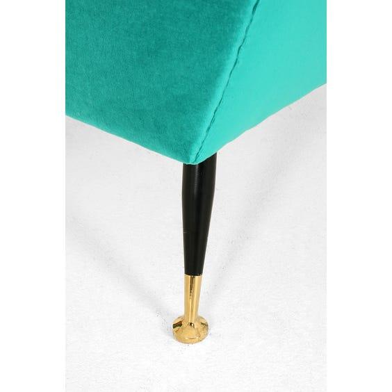 Midcentury turquoise velvet armchair image