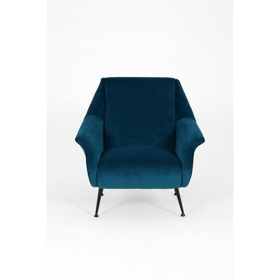Midcentury blue velvet armchair image