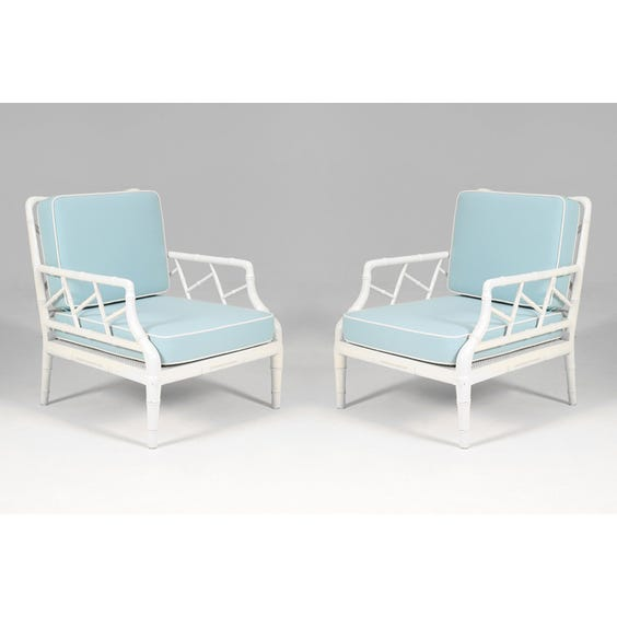 French white bamboo armchair image
