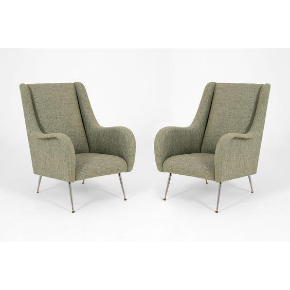 Midcentury woven grey armchair image
