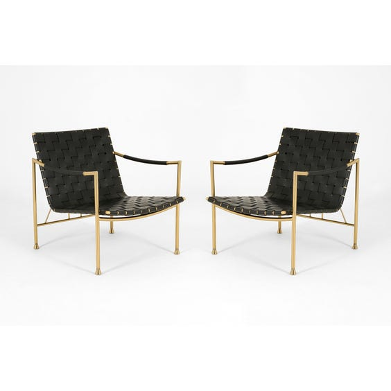 Leather and brass lounge chair image