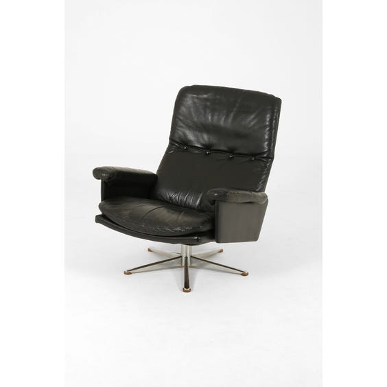 Black leather high back armchair image