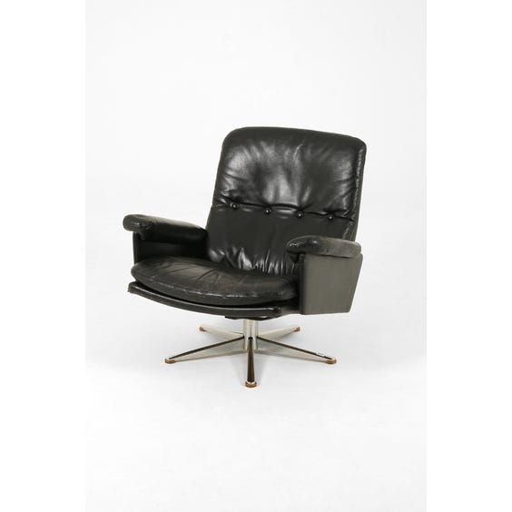 Black leather low back armchair image