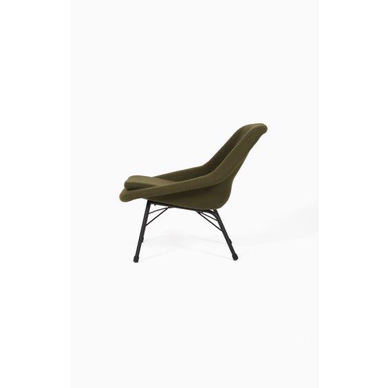 Green wool low lounge chair image