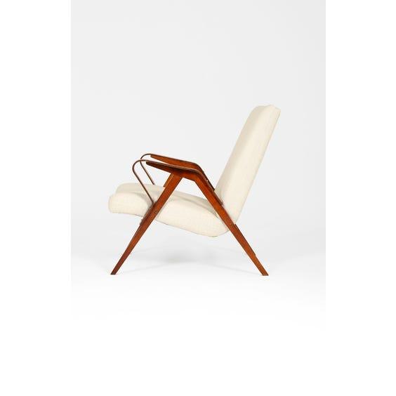 Midcentury Czech cream wool armchair image