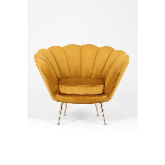 Midcentury scallop back tub armchair image