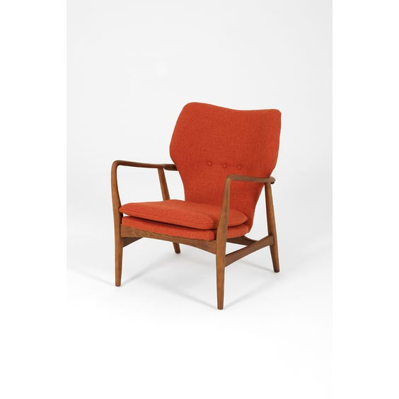Scandi curved walnut frame armchair image