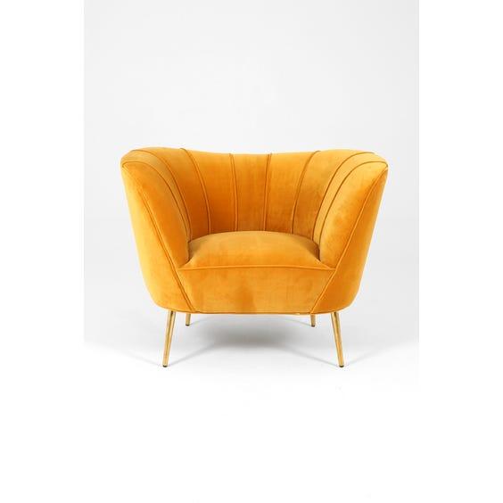 Midcentury gold velvet tub armchair image