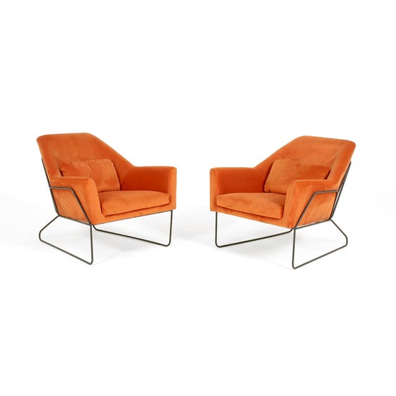 Midcentury orange velvet lounge chair image