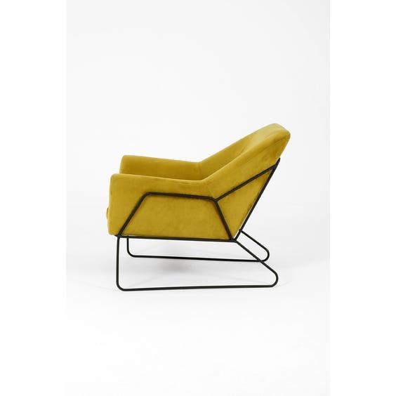 Midcentury green velvet lounge chair image