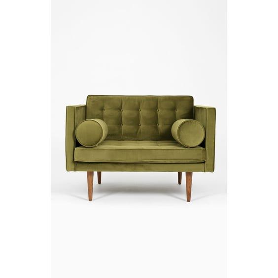 Midcentury moss green velvet armchair image