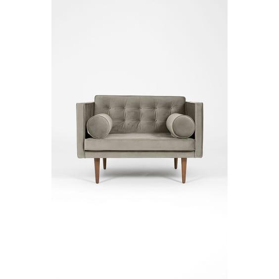 Midcentury grey velvet armchair image