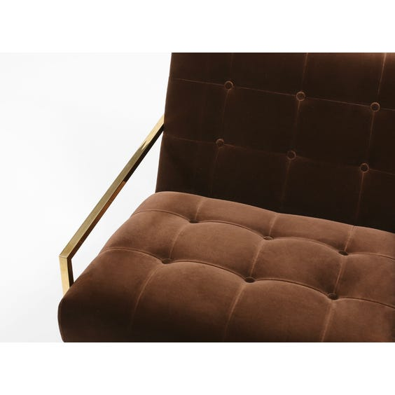 1970s chocolate brown velvet armchair image