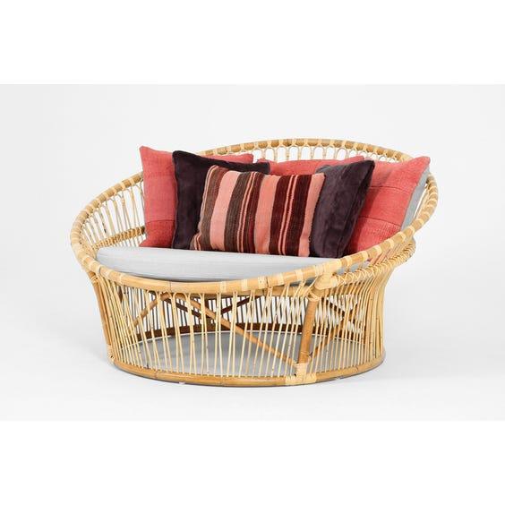 Midcentury Danish rattan love seat image