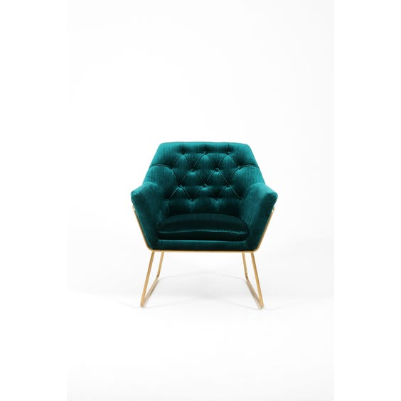 Peacock blue velvet lounge chair  image