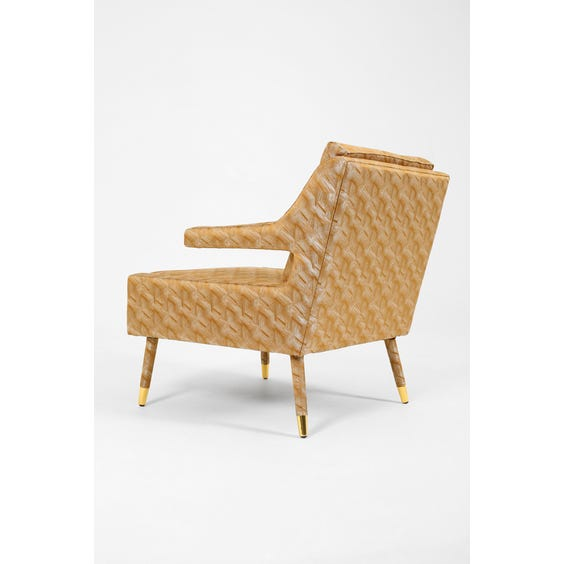 Midcentury gold silk lounge chair  image