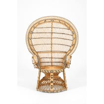 Midcentury woven rattan peacock chair