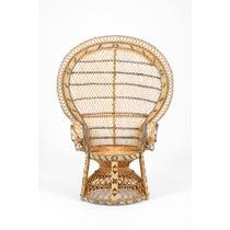 Midcentury woven rattan peacock chair