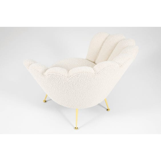Off white boucle scallop chair  image
