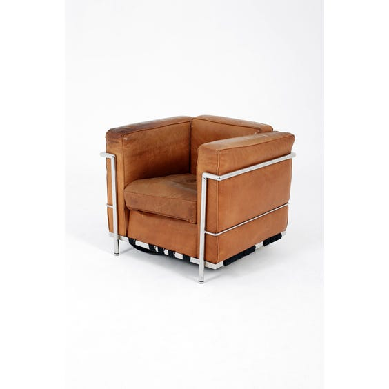 Midcentury tan leather cube armchair  image