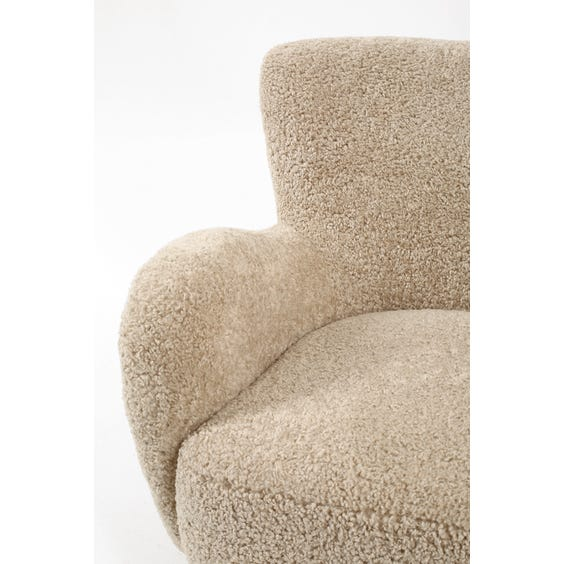 Midcentury oatmeal shearling armchair  image