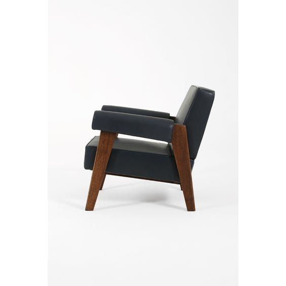 Midcentury muted navy blue armchair image