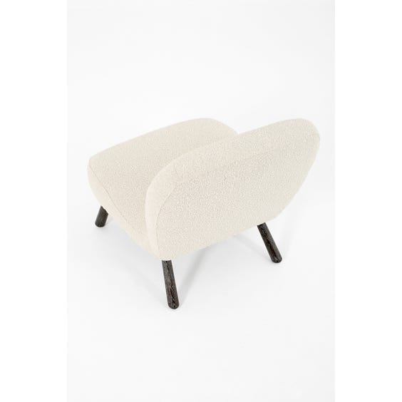White boucle clam chair image