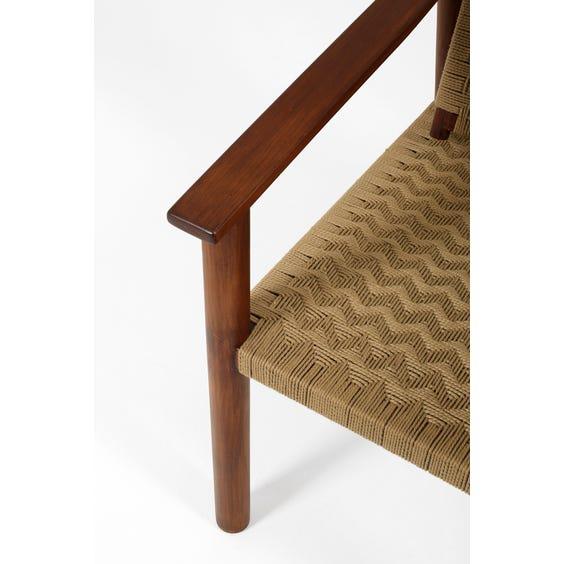 Midcentury teak and jute armchair  image