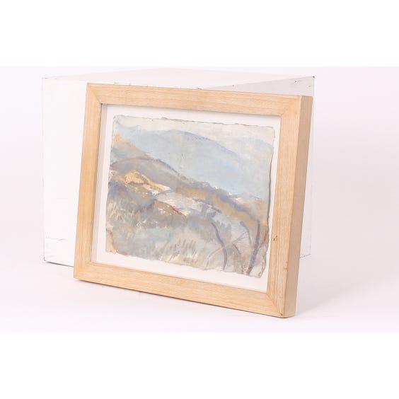 Pale watercolour landscape image