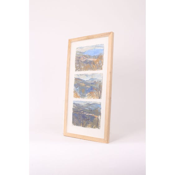 Three framed watercolour landscapes image