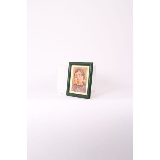 1930s green leather frame watercolour image
