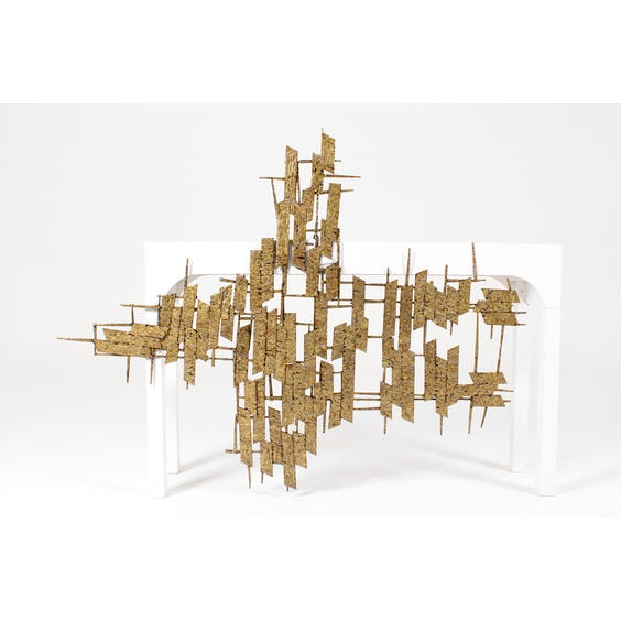Gold abstract metal wall sculpture image