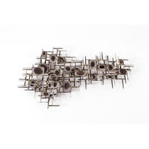 Abstract brushed steel wall sculpture
