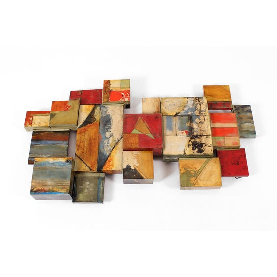 Abstract enamel Cubist wall sculpture image