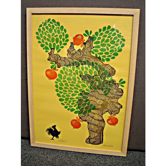 Yellow tree and chicken print image