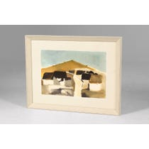 Abstract village landscape painting