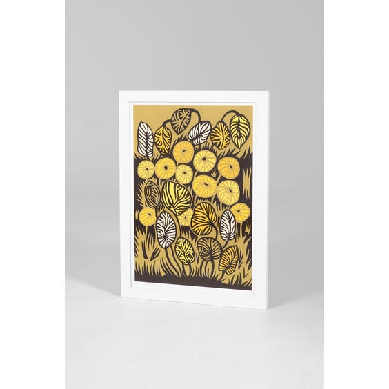 Graphic yellow leaves print image