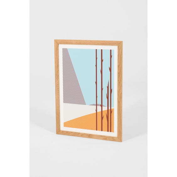 Abstract blue and orange graphic print image