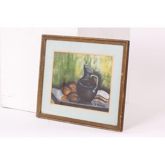 Black jug pastel drawing image