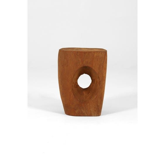 Wooden hand carved log stool image
