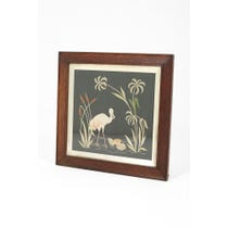 Vintage silk panel of wading bird rushes