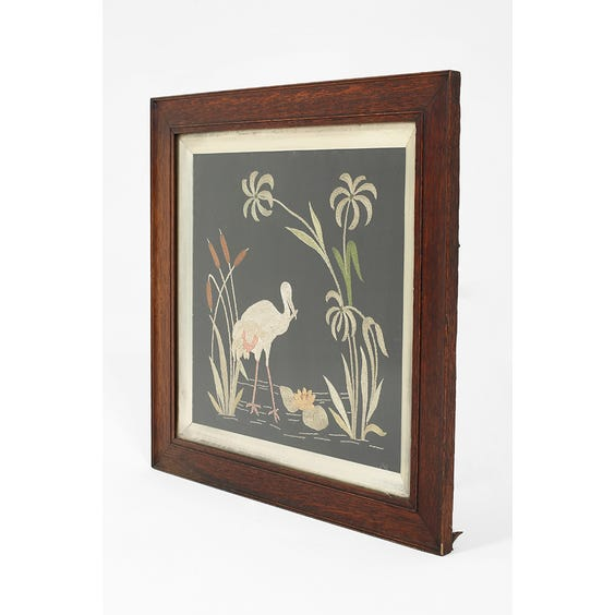 Vintage silk panel of wading bird rushes  image