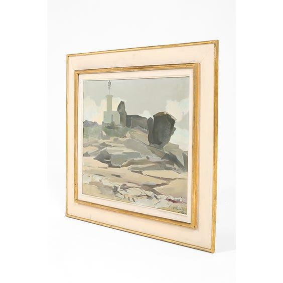 Midcentury French coastal scene painting  image