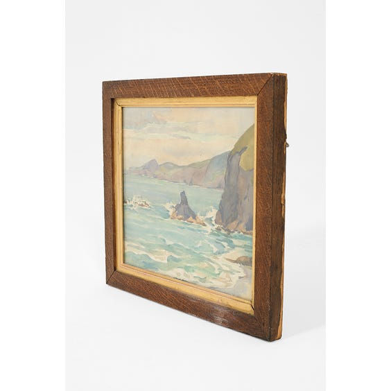 Watercolour painting of coastal scene  image