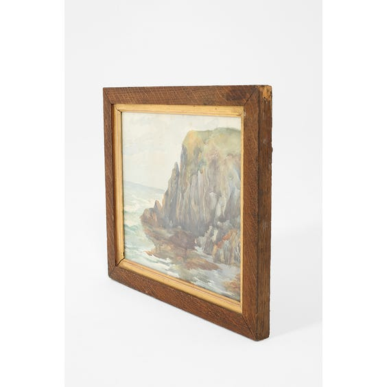 Watercolour painting of rocky coastal cliff  image