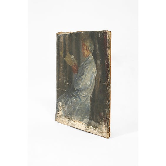 Oil painting of woman reading image