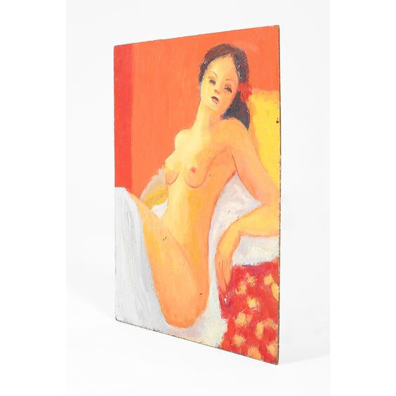 Nude woman in orange yellow and red  image