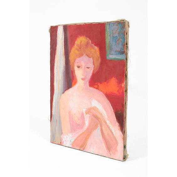 Vintage oil painting of semi nude woman  image