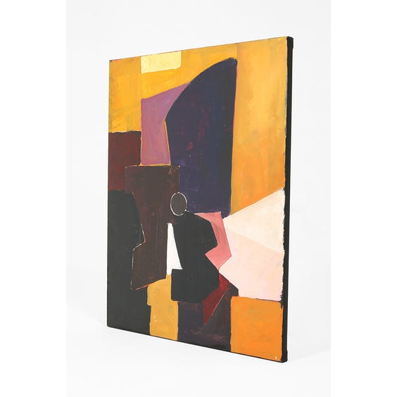 Abstract painting in mustard dark purple and maroon image